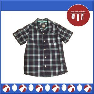Boys OshKosh B'gosh Navy Plaid Short Sleeve Shirt